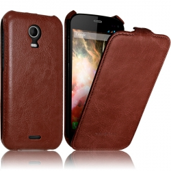 Etui Rigide à Clapet pour Wiko Darkmoon Couleur Marron + Film de Protection