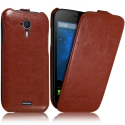 Housse Etui Rigide à Clapet pour Wiko Darknight Couleur Marron + Film de Protection