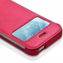 Etui à Rabat Latéral Fenêtre Couleur Rose Fushia pour Apple iPhone 5 / 5S + Film