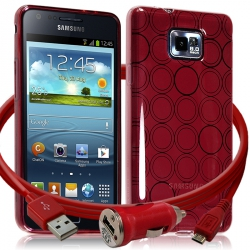Housse Coque Style Cercle Rouge Translucide pour Samsung Galaxy S2 i9100 + Chargeur Auto