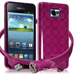 Housse Coque Style Cercle Rose Fushia Translucide pour Samsung Galaxy S2 i9100 + Chargeur Auto