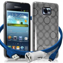 Housse Coque Style Cercle Argent Translucide pour Samsung Galaxy S2 i9100 + Chargeur Auto