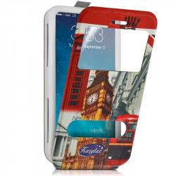Etui Coque Silicone S-View Motif Universel L pour Samsung Galaxy S5
