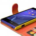 Etui Portefeuille mode Support Style Diamant Orange pour Sony Xperia M2