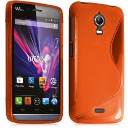 Housse Etui Coque S-Line pour Wiko Wax couleur Orange + Film de Protection