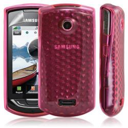 Housse coque gel pour samsung S5620/S5628 Player Star 2 couleur rose motif diamant + film protecteur