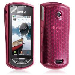 Ccoque gel pour samsung S5620/S5628 Player Star 2 couleur rose motif diamant + film