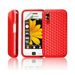 coque en gel rouge pour Samsung Player One S5230 + Film de protection