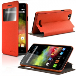 Housse Etui S-View Fonction support Couleur Orange pour Wiko Rainbow + Film de Protection
