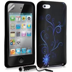 Housse coque étui en gel pour Apple Ipod Touch 4G avec motif + Stylet + Film