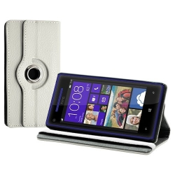 Housse coque étui pour HTC 8X de luxe avec sytème de rotation à 360 degrès couleur blanc