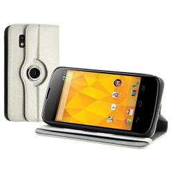 Housse coque étui pour LG Nexus 4 de luxe avec sytème de rotation à 360 degrès couleur blanc