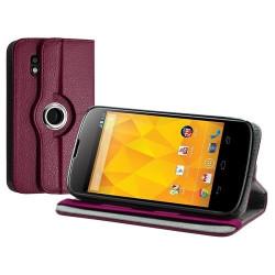 Housse coque étui pour LG Nexus 4 de luxe avec sytème de rotation à 360 degrès couleur rose fushia