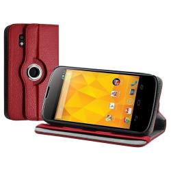 Housse coque étui pour LG Nexus 4 de luxe avec sytème de rotation à 360 degrès couleur rouge