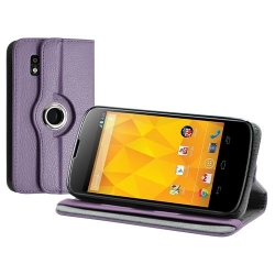 Housse coque étui pour LG Nexus 4 de luxe avec sytème de rotation à 360 degrès couleur violet
