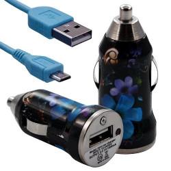 Chargeur Voiture Allume Cigare USB avec Câble Data avec motif HF16 pour Blackberry : Curve 9320 / Curve 9360 / Curve 9380 / Bol