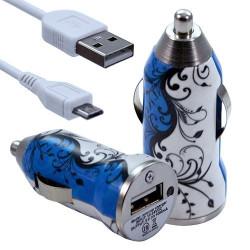 Chargeur Voiture Allume Cigare USB avec Câble Data avec motif HF25 pour Blackberry : Curve 9320 / Curve 9360 / Curve 9380 / Bol