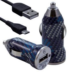 Chargeur Voiture Allume Cigare USB avec Câble Data avec motif CV04 pour Blackberry : Curve 9320 / Curve 9360 / Curve 9380 / Bol