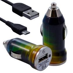 Chargeur Voiture Allume Cigare USB avec Câble Data avec motif CV06 pour Blackberry : Curve 9320 / Curve 9360 / Curve 9380 / Bol