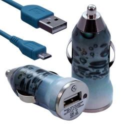 Chargeur Voiture Allume Cigare USB avec Câble Data avec motif CV08 pour Blackberry : Curve 9320 / Curve 9360 / Curve 9380 / Bol