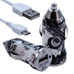 Chargeur Voiture Allume Cigare USB avec Câble Data avec motif CV11 pour Blackberry : Curve 9320 / Curve 9360 / Curve 9380 / Bol