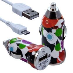 Chargeur Voiture Allume Cigare USB avec Câble Data avec motif CV12 pour Blackberry : Curve 9320 / Curve 9360 / Curve 9380 / Bol