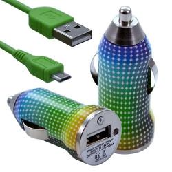 Chargeur Voiture Allume Cigare USB avec Câble Data avec motif CV13 pour Blackberry : Curve 9320 / Curve 9360 / Curve 9380 / Bol