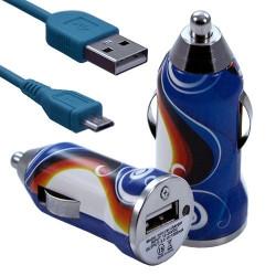 Chargeur Voiture Allume Cigare USB avec Câble Data avec motif CV15 pour Blackberry : Curve 9320 / Curve 9360 / Curve 9380 / Bol