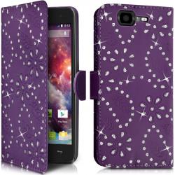 Etui Coque Portefeuille style Diamant Couleur Violet pour Wiko Highway 4G + Film de Protection
