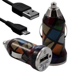 Chargeur Voiture Allume Cigare USB avec Câble Data avec Motif CV02 pour Sony Xperia E