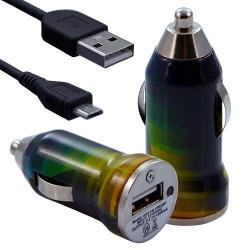 Chargeur Voiture Allume Cigare USB avec Câble Data avec Motif CV06 pour Sony Xperia E