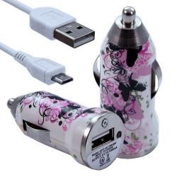 Chargeur Voiture Allume Cigare USB avec Câble Data avec Motif CV14 pour Sony Xperia E