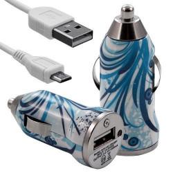 Chargeur Voiture Allume Cigare USB avec Câble Data avec Motif HF08 pour Sony Xperia E
