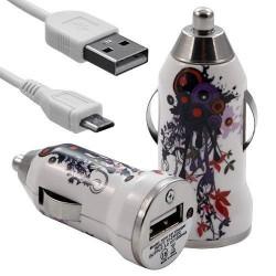 Chargeur Voiture Allume Cigare USB avec Câble Data avec Motif HF12 pour Sony Xperia E