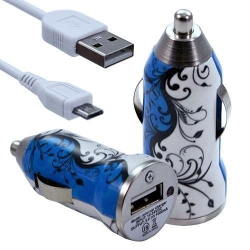 Chargeur Voiture Allume Cigare USB avec Câble Data avec Motif HF25 pour Sony Xperia E