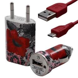 Mini Chargeur 3en1 Auto et Secteur USB avec Câble Data avec Motif CV01 pour Sony Xperia E
