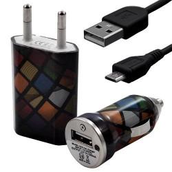 Mini Chargeur 3en1 Auto et Secteur USB avec Câble Data avec Motif CV02 pour Sony Xperia E