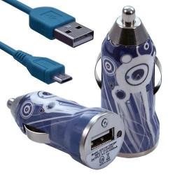 Chargeur Voiture Allume Cigare USB avec Câble Data avec Motif CV07 pour BlackBerry Z10