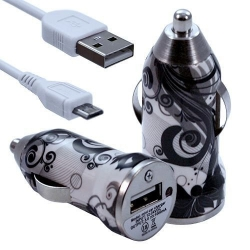 Chargeur Voiture Allume Cigare USB avec Câble Data avec Motif CV11 pour BlackBerry Z10