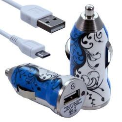 Chargeur Voiture Allume Cigare USB avec Câble Data avec Motif HF25 pour BlackBerry Z10