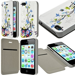 Etui à rabat et porte-carte pour Apple iPhone 4 / 4S motif HF01 + Film de Protection