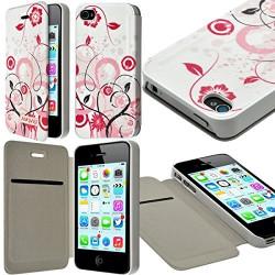 Etui à rabat et porte-carte pour Apple iPhone 4 / 4S motif HF30 + Film de Protection