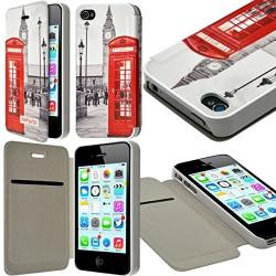 Etui à rabat et porte-carte pour Apple iPhone 4 / 4S motif KJ03B + Film de Protection