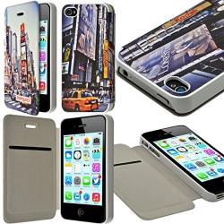 Etui à rabat et porte-carte pour Apple iPhone 4 / 4S motif KJ26B + Film de Protection