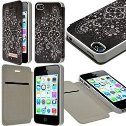 Etui à rabat et porte-carte pour Apple iPhone 4 / 4S motif LM11 + Film de Protection