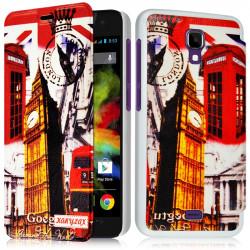 Coque Housse Etui à rabat latéral et porte-carte avec motif HF30 pour Wiko Bloom + Film de protection