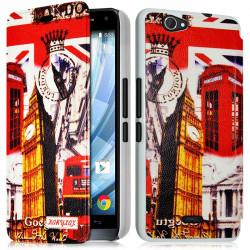 Coque Housse Etui à rabat latéral et porte-carte avec motif HF30 pour Wiko Getaway + Film de protection