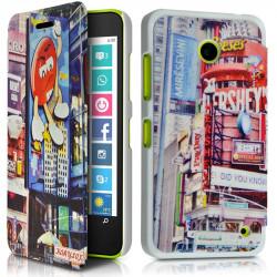 Coque Housse Etui à rabat latéral et porte-carte avec motif HF30 pour Nokia Lumia 635 + Film de protection
