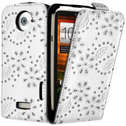 Housse Coque Etui de Protection avec Diamant Couleur Blanc pour HTC One X