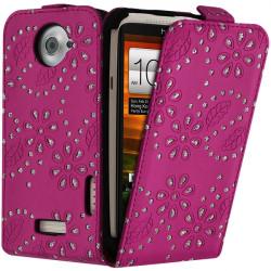Housse Coque Etui de Protection avec Diamant Couleur pour HTC One X